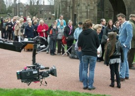 Filming the queue with a crane