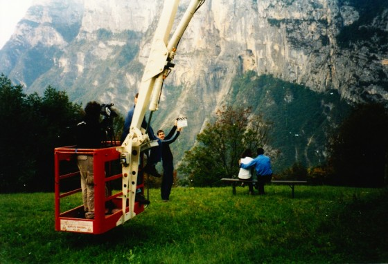 Filming in the Italian Dolomites for Beyond Recognition (2002, dir. Tom Muschamp). Photo: Simon Ball
