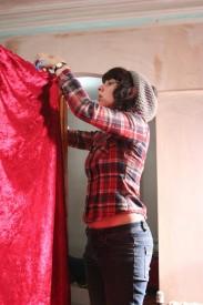 Sophie Black at work on the set