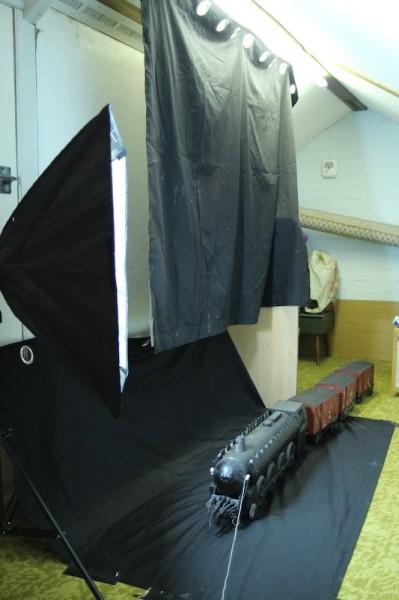 Shooting the train against black