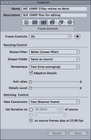 Step 3: retiming to 25fps with Compressor