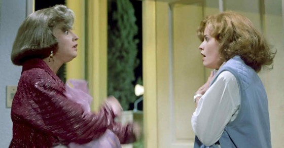 Elizabeth Shue plays both old and young Jennifer in a split screen shot from Back to the Future Part II (1989).