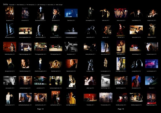 Thumbnails, filenames and photographer credits for the accompanying CD of stills