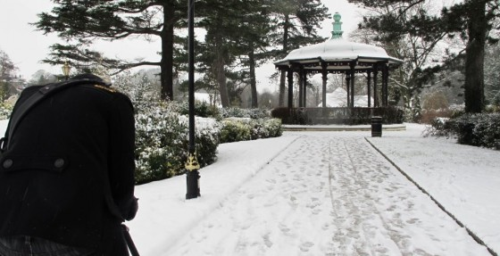 Chris Newman films the bandstand at Belper River Gardens. Photo: Sophie Black
