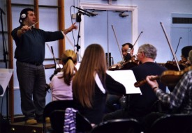 Scott Benzie conducts the Worcestershire Symphony Orchestra as they perform his score for Soul Searcher.