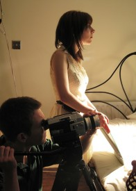 Colin Smith lines up the Super-8 camera as director Sophie Black pans the mirror.