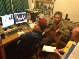Consulting with editor Adam Hale (left) and director Brendan O'Neill (right). Photo: Anneliese Cherrington