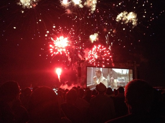 Fireworks and Jaws on the beach