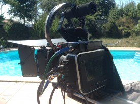 The BMCC rigged with a lock-it box for timecode sync with the audio recorder, on a Cinecity Pro-Aim shoulder mount