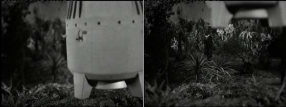 The camera pulls focus from a foreground miniature taking off to an actor in the background. A greater depth of field would have made the shot more convincing, but  the principle is sound.