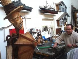 Model Unit supervisor Mike Tucker working on the Wooden Swordsman for The Dark Side of the Earth back in 2008