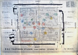 Studio floor plan from the very first episode of Doctor Who, showing camera positions (coloured circles)