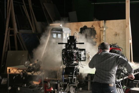 Filming the Tardis breaking through the wall