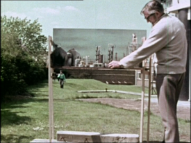 Setting up a foreground miniature for a later Who story, Inferno (1970)