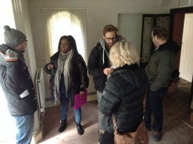 Left to right: Tom Walsh (1st AD), Sophia Ramcharan (producer), Benjamin Maier (DP), Amy Nicholson (production designer) and Steve Deery (writer)