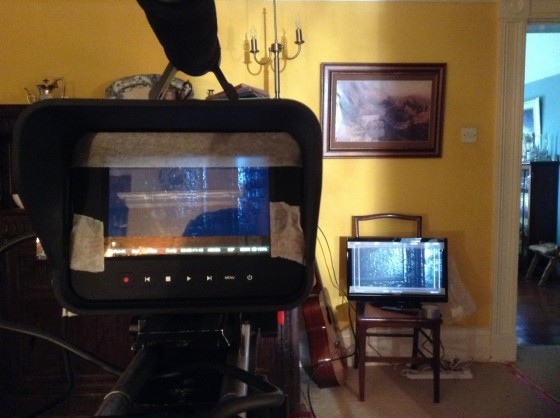 Taping off the camera screen and monitor for a 2.35:1 aspect ratio
