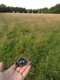 Checking my compass at the stone circle