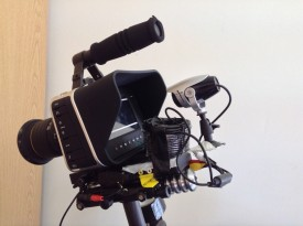 The CCTV camera set up to film the Blackmagic's screen