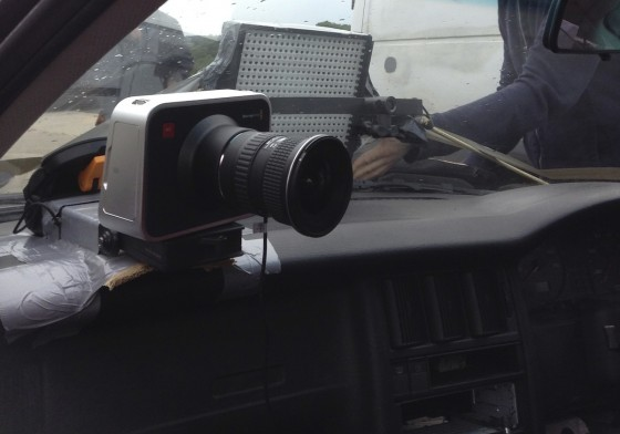 The Blackmagic, mounted on the dashboard with an old Hama suction mount, some cardboard, some gaffer tape, a wing and prayer