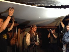 Colin (left) helps hold up the roof. Rich (right) does not. Duran Fulton Brown (centre) plays Hunter.