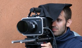 Shooting on my Sigma 50mm f1.4 from under my signature Stealth Cloth, to keep sunlight off the Blackmagic's screen