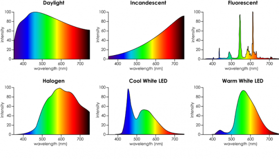 This comparison of domestic bulbs against daylight shows the spectra of light they emit.