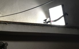 LP-1x1 LitePanel, set up in seconds on a lintel in a street location in Japan for the sci-fi thriller Synced.