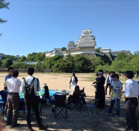 Setting up in front of Himeji Castle