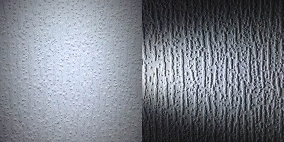 The same wallpaper lit by front-light (left) and cross-light (right).