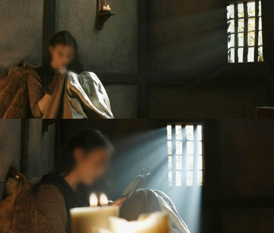These frames are the start and end positions of a tracking shot from Ren (with a top secret make-up effect!). Note how the shafts of light from the window are much more prominent when the camera is pointed more towards the light source.