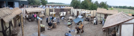A panoramic view of Ren's village set. Photo: Michael Hudson