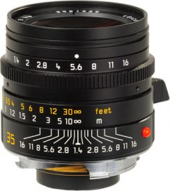 A stills lens with its aperture ring marked in f-stops