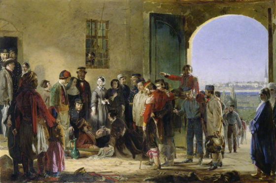 NPG 6202; The Mission of Mercy: Florence Nightingale receiving the Wounded at Scutari by Jerry Barrett