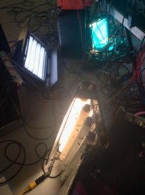 Unusually being used as practicals, in a music promo, are a 2'x4 Kino Flo (foreground, with 3200K tubes) and a Kino Flo Diva Lite (top left, with 5500K tubes).