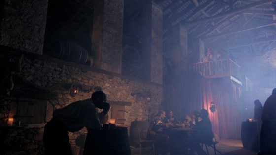 The 16:9 aspect ratio allows me to show the nice, oak beam ceiling and the raised stage in this shot from The First Musketeer (dir. Harriet Sams).